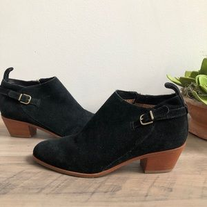 Via Spiga Caylin Suede Buckle Detail Black Bootie